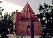 Ghumbez Manas (14-th c) is a mausoleum dedicated to Manas, the famous hero of the great Kyrgyz Epos, situated on the banks of the Kenkol River near its confluence with the Talas River in the Kyrgyz Mountain Range