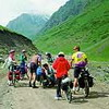 Biking adventures in Tian Shan mountains. Biking in Kyrgyzstan